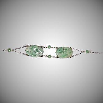 Vintage Art Deco Chinese Sterling Silver Bead & Carved Jadeite Jade Bracelet
