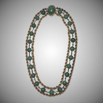 Vintage German Sterling Silver Gilt Aventurine Bead Three Strand Necklace Germany