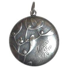 Antique Jugendstil 1910 Victor Mayer 800 Silver Mistletoe Locket Pendant