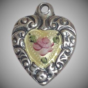 Vintage Sterling Silver Enamel Puffy Heart Charm