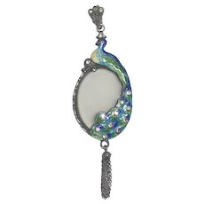 Vintage Art Deco Sterling Silver Enamel, Frosted Glass & Paste Peacock Pendant