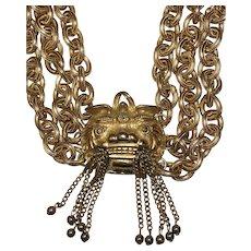 Vintage Pauline Rader Asian Inspired Foo Dog Tassel Necklace
