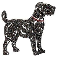 Vintage Austrian Art Deco Sterling Silver Marcasite, Red Enamel & Pink Paste Eyed Terrier Dog Brooch Austria