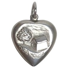 Vintage Sterling Silver Dog House Puffy Heart Charm