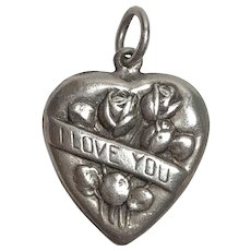 "Vintage Sterling Silver ""I Love You"" Rose Flower Puffy Heart Charm"