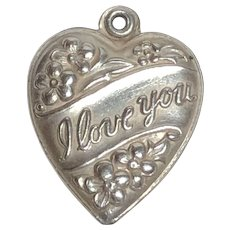 "Vintage Sterling Silver ""I Love You"" Flower Puffy Heart Charm"