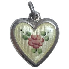 Vintage LaMode Sterling Silver and Enamel Flower Puffy Heart Charm