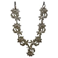 1950's Sterling Silver and Marcasite Flower Necklace and Earrings Set
