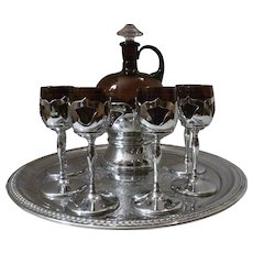 Cambridge Amethyst Glass Farberware Decanter Set
