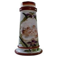 "Bristol Angels Cherubs Hand Painted and Transfer Victorian Tapered 12"" Vase - Red Tag Sale Item"