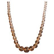 "Art Deco Faceted Peach Crystal Bead 24"" Necklace"