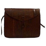 Vintage Crossbody Snakeskin Purse Handbag Braided Strap