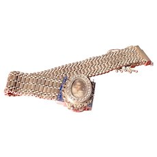 14k Retro Enamel Portrait  Bracelet Watch - Red Tag Sale Item