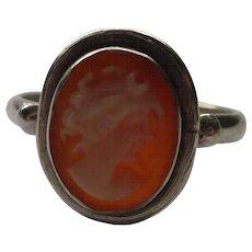 Sterling Genuine Cameo Vintage Ring  6 .5