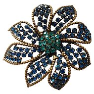 "WEISS 2 3/4"" Large Blue Green Vintage Flower Brooch"