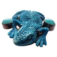 Sterling Blue Chalcedony and Blue Glass Frog Brooch Pin