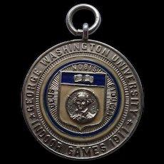 1911 George Washington University Indoor Games Sterling Enamel Medal 19 grams