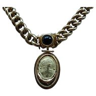 Heavy 18K Gold AREZZO ITALY Necklace with Portrait Pendant