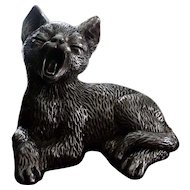 """Sterling Silver 3"""" Yawning Cat Figure Statue"""