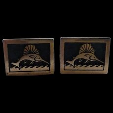 Sterling Fenwick and Sailors Swordfish Gold Cufflinks