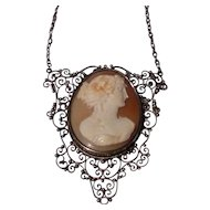 Sterling Filigree Genuine Shell Cameo Necklace