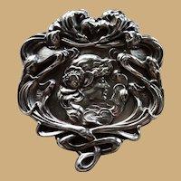 "Unger Bros Sterling 2 3/4"" Art Nouveau Pin Brooch Circa 1900"