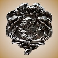 "Unger Bros Sterling 2 3/4"" Art Nouveau Pin Brooch Circa 1900"