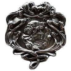Unger Bros.Sterling Large Art Nouveau Pin Circa 1900