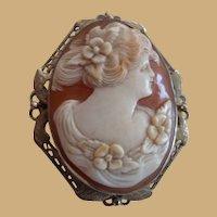 14K White Gold 1940's Filigree Beautiful Shell Cameo Pin Pendant Brooch