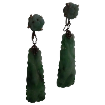 Art Deco 14K  Natural Jade Jadite Long Hanging Earrings