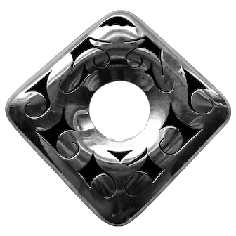 Mexico Sterling Cutout Diamond Shape Brooch Pendant