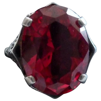 Sterling Filigree Red Glass Ring Size 8