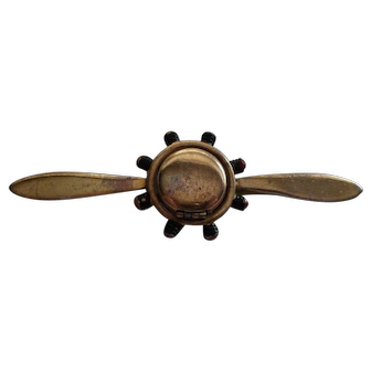 Gold Tone WWII Sweetheart Propeller Locket Pin with Enamel Accents