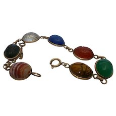 Van Dell Gold Filled Semi Precious Stone Scarab Bracelet