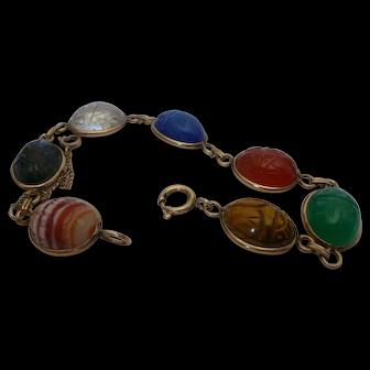 Van Dell Gold Filled Semi Precious Stone Scarab Bracelet