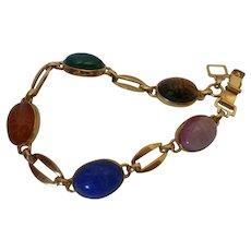 WRE 14K Gold Filled Semi Precious Stone Scarab Bracelet