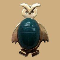 WRE 14K Onyx Gold Filled OWL Scarab Pin Brooch