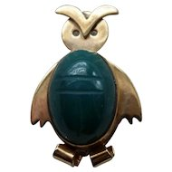 WRE 14K Gold Filled OWL Scarab Pin Brooch