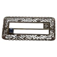 14K Filigree Diamond and Sapphire Rectangle Pin Brooch