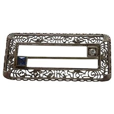 14K Filigree Diamond and Sapphire Rectangle Pin Brooch