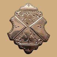 9K Rolled Gold Shield Shape Victorian Brooch Pin Pendant
