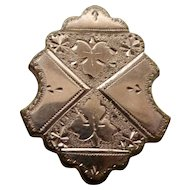 9K Shield Shape Victorian Brooch Pin Pendant