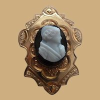 Victorian 1890's Gold Filled Hardstone Cameo Brooch Pin