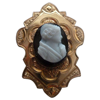 Victorian Era Gold Filled Hardstone Cameo Brooch Pin