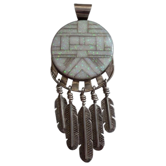 Sterling Navajo Opal Inlay Pendant with Feather Dangles Signed  YM
