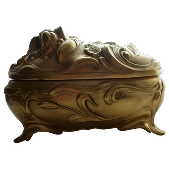 Art Nouveau Small Footed Gold Floral Casket Jewelry Box