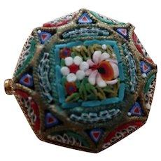 Vintage Micro Mosaic Pin Brooch Italy