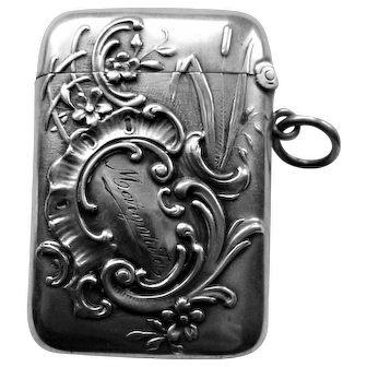 Art Nouveau German Sterling Match Safe Vesta Case