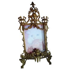 """Gold Ornate Cherub and Garlands Easel Frame 6 1/2"""" x 4 3/4"""" Opening"""