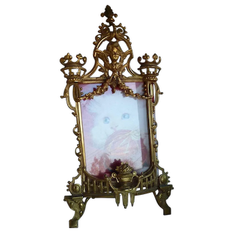 "Gold Ornate Cherub and Garlands Easel Frame 6 1/2"" x 4 3/4"" Opening"